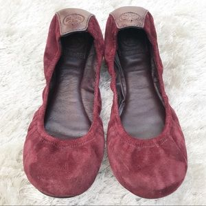 TORY BURCH Maroon Suede Flats